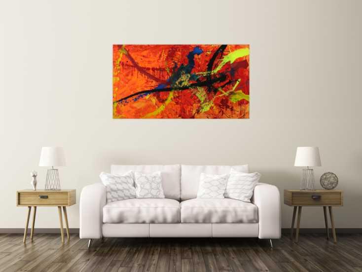 #1564 Abstraktes Gemälde Modern Art auf Leinwand handgemalt in XXL Action ... 80x150cm von Alex Zerr