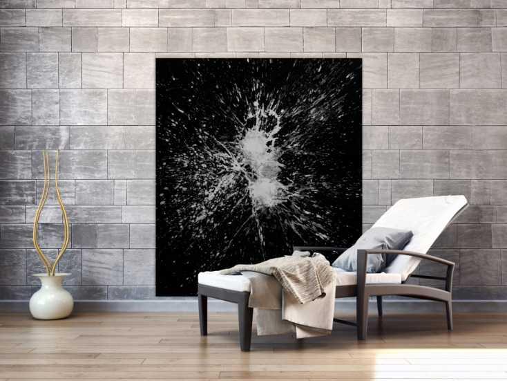 #1565 Abstraktes Gemälde schwarz weiß minimalistisch Acryl auf Leinwand ... 150x130cm von Alex Zerr