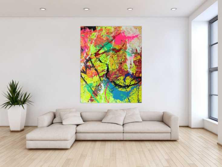 #1566 Abstraktes Gemälde auf Leinwand Modern Art Action Paiting Hochformat ... 150x120cm von Alex Zerr