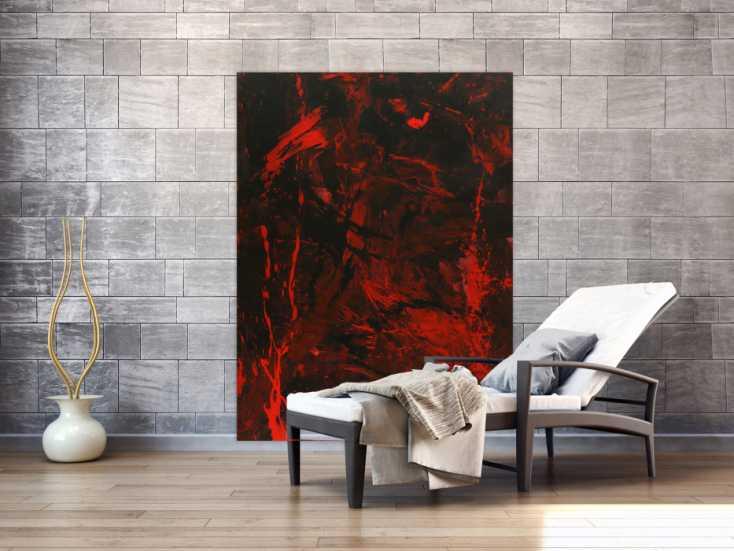 #1567 Abstraktes Gemälde rot schwarz Action Painting Modern Art handgemalt ... 160x120cm von Alex Zerr