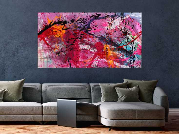 #1568 Abstraktes Gemälde Action Paiting helle Farben Modern Art ... 80x150cm von Alex Zerr