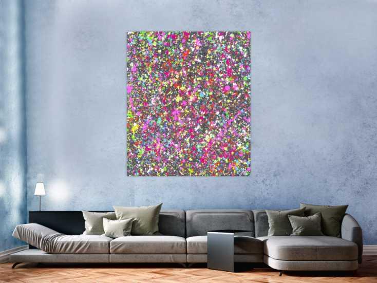 #1570 Abstraktes Gemälde bunte Flecken Modern Art Splash Art ... 140x120cm von Alex Zerr