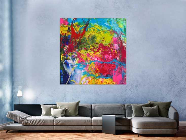 #1571 Action Painting Gemälde abstrakt Modern Art sehr Bunt quadratisch ... 130x130cm von Alex Zerr