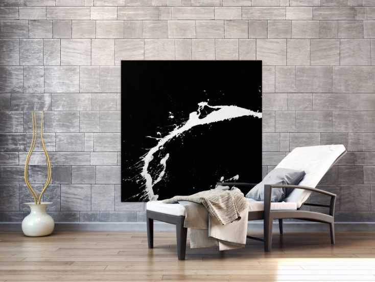 #1572 Action Painting Gemälde quadratisch minimalistisch schwarz weiß ... 120x120cm von Alex Zerr