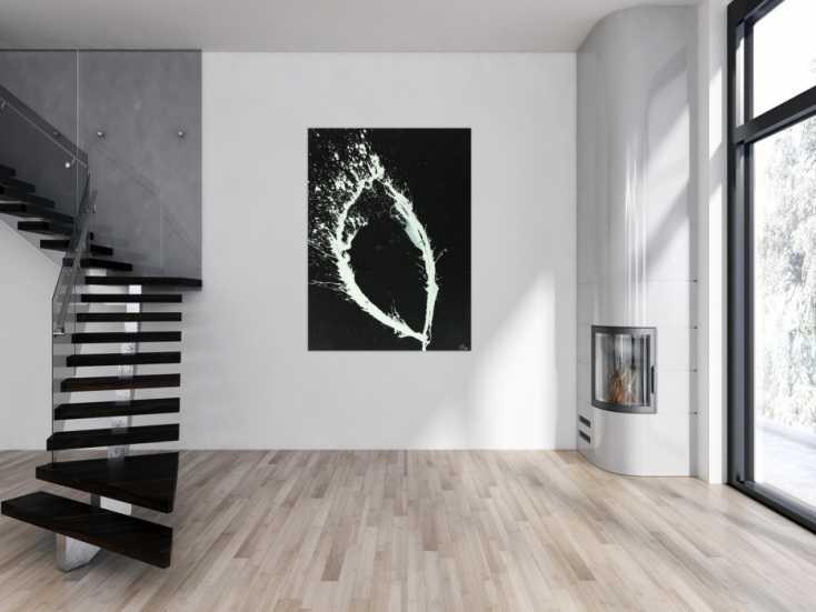 #1574 Abstraktes Acrylbild minimalistisch schwarz weiß Action Painting ... 150x110cm von Alex Zerr
