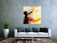 Abstraktes Gemälde Modern Art quadratisch handgemalt schwarz orange weiß