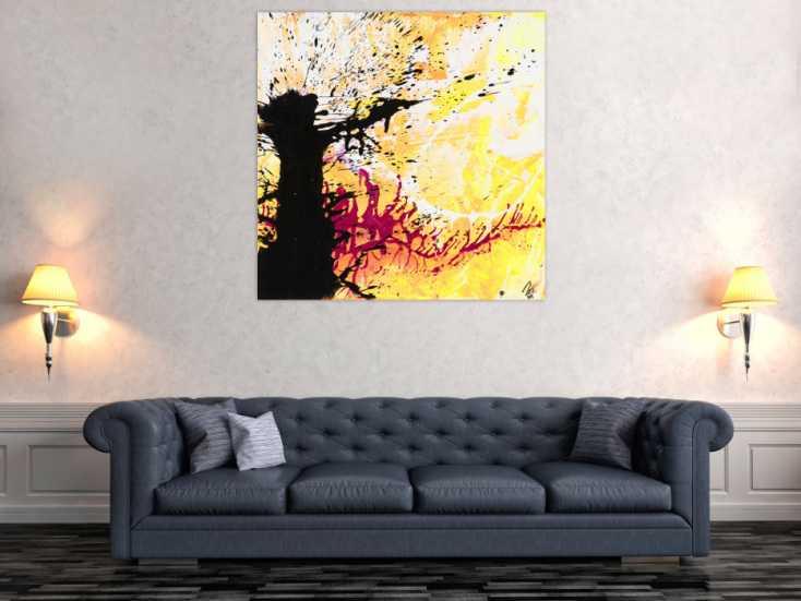 #1575 Abstraktes Gemälde Modern Art quadratisch handgemalt schwarz orange ... 110x110cm von Alex Zerr