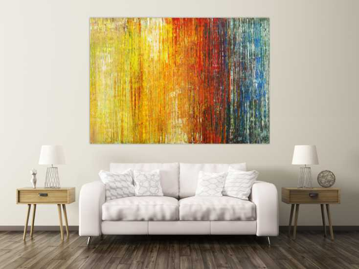 #1576 Abstraktes Gemälde Spachteltehnik Modern Art gelb orange weiß rot ... 140x200cm von Alex Zerr