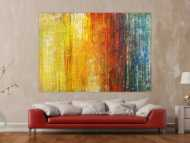 Abstraktes Gemälde Spachteltehnik Modern Art gelb orange weiß rot blau bunte Farben handgemalt