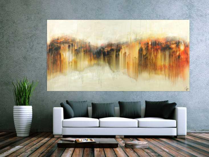 #1577 Abstraktes Gemälde Modern Art Mischtechnik handgemalt auf Leinwand ... 120x240cm von Alex Zerr