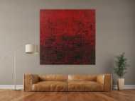 Abstraktes Acrylbild Modern Art auf Leinwand handgemalt Spachteltechnik rot schwarz