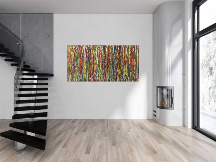 #1579 Abstraktes Gemälde Modern Art Acrylbild Action Painting handgemalt ... 90x180cm von Alex Zerr