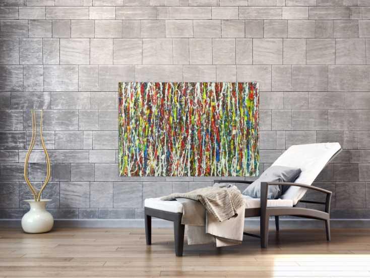 #1580 Abstraktes Gemälde auf Leinwand Modern Art bunt Action Painting ... 80x120cm von Alex Zerr