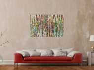 Abstraktes Gemälde auf Leinwand Modern Art bunt Action Painting handgemalt