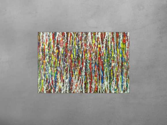 Abstraktes Gemälde auf Leinwand Modern Art bunt Action Painting ... 80x120cm