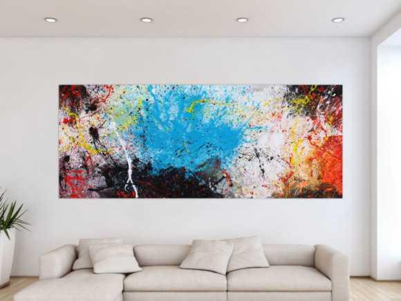 Abstraktes Gemälde Action painting XXL auf Leinwand handgemalt bunte ... 100x250cm