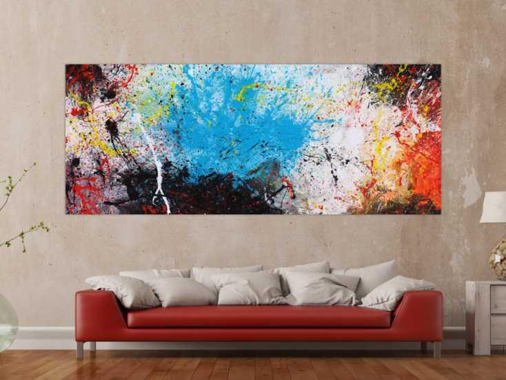 #1581 Abstraktes Gemälde Action painting XXL auf Leinwand handgemalt bunte ... 100x250cm von Alex Zerr