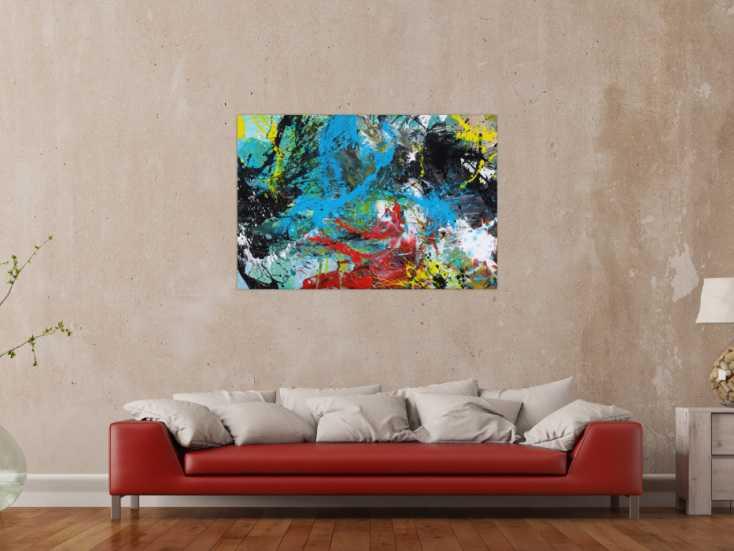 #1582 Modernes Gemälde Action Painting Mischtechnik Moden Art handgemalt ... 80x120cm von Alex Zerr