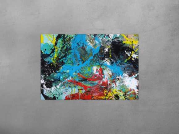 Modernes Gemälde Action Painting Mischtechnik Moden Art handgemalt ... 80x120cm