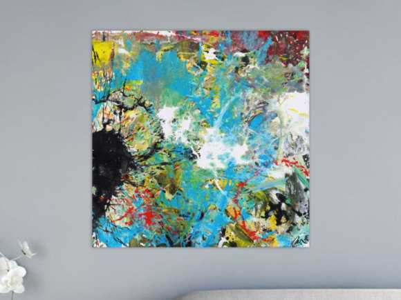 Abstraktes Acrylbild handgemalt Modern Art zwitgenössische Kunst auf ... 80x80cm