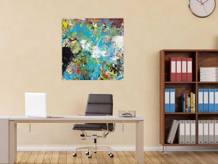 #1583 Abstraktes Acrylbild handgemalt Modern Art zwitgenössische Kunst auf ... 80x80cm von Alex Zerr