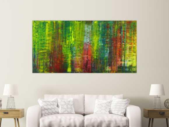 Abstraktes Gemälde handgemalt auf Leinwand bunte Farben ... 100x200cm