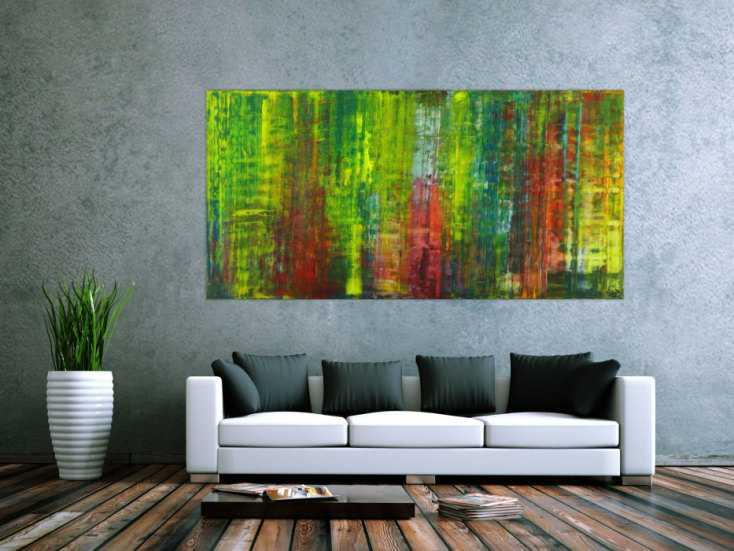 #1584 Abstraktes Gemälde handgemalt auf Leinwand bunte Farben ... 100x200cm von Alex Zerr
