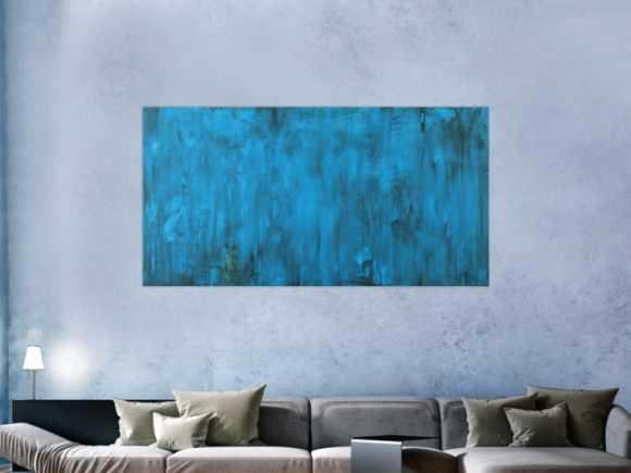 Abstraktes Gemälde Türkis vintage Look Modern Art handgemalt 90x175cm