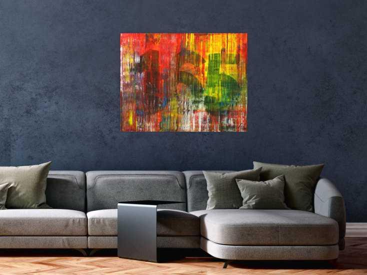 #1586 Abstraktes Gemälde Modern Art Spachteltechnis sehr bunt ... 70x90cm von Alex Zerr