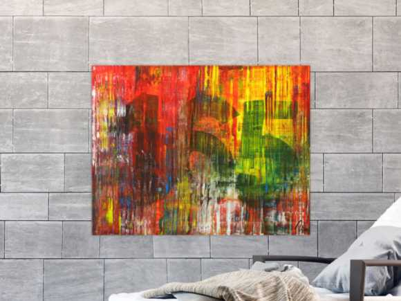 Abstraktes Gemälde Modern Art Spachteltechnis sehr bunt ... 70x90cm