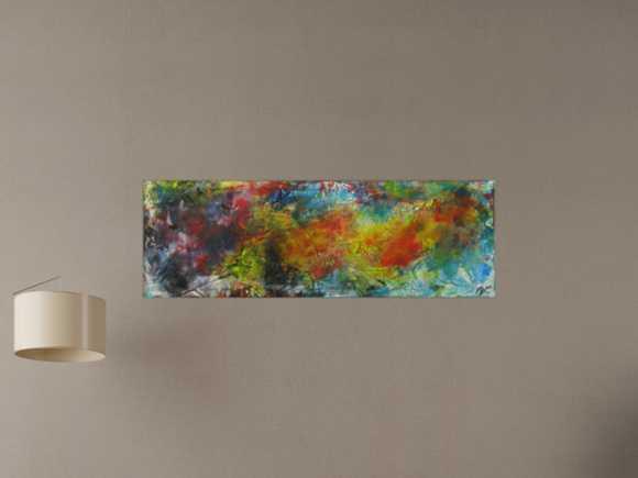 Abstraktes Gemälde Mischtechnik Modern Art auf Leinwand Handgemalt ... 40x120cm