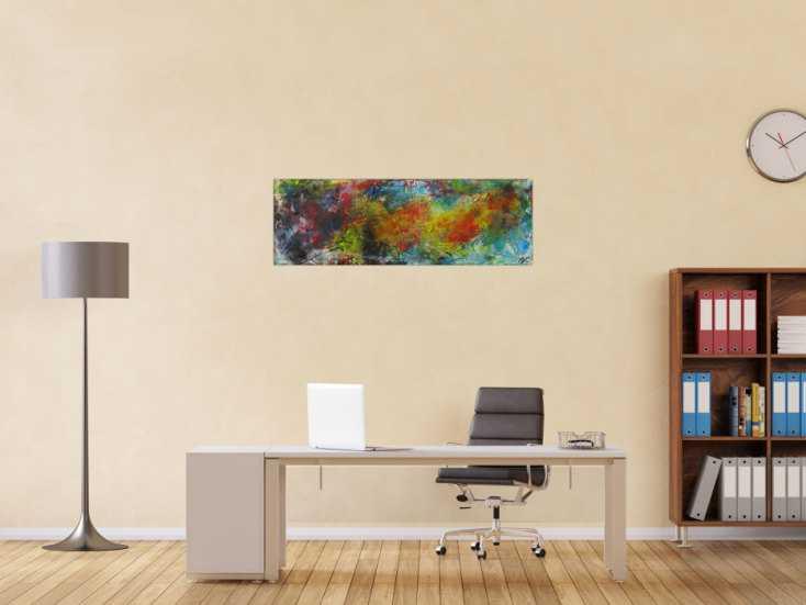 #1588 Abstraktes Gemälde Mischtechnik Modern Art auf Leinwand Handgemalt ... 40x120cm von Alex Zerr