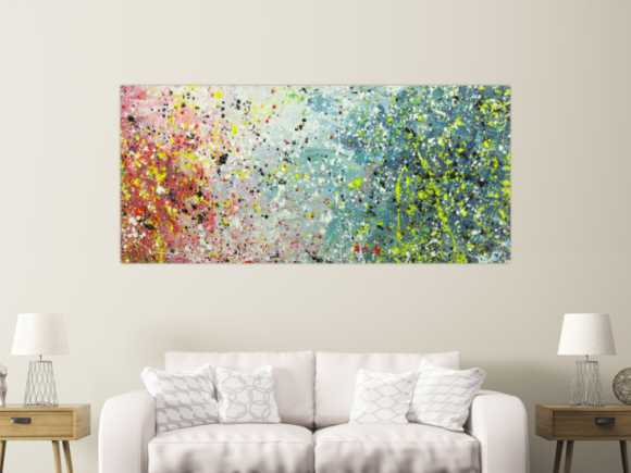 Abstraktes Gemälde Action Painting Modern Art handgemalt auf Leinwand 90x200cm