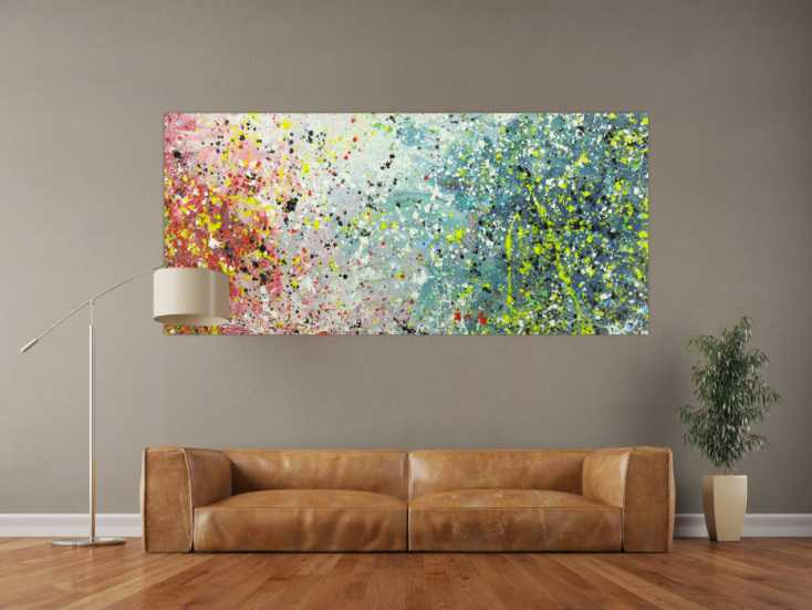 #1589 Abstraktes Gemälde Action Painting Modern Art handgemalt auf Leinwand 90x200cm von Alex Zerr
