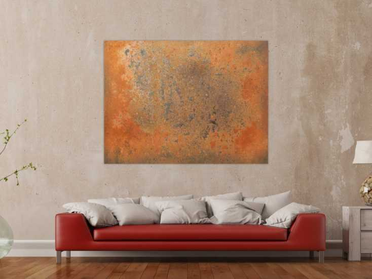 #159 Abstraktes Gemälde aus echtem Rost 100x150cm von Alex Zerr