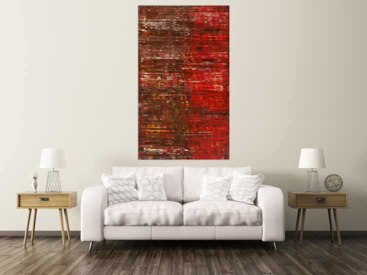 #1592 Abstraktes Gemälde Spachteltechnik Modern Art braun rot weiß ... 170x100cm von Alex Zerr