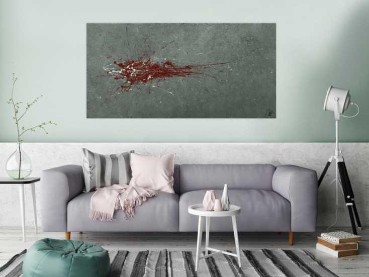 #1593 Monders Abstraktes Gemälde handgemalt Mischtechnik auf Leinwand grau ... 80x160cm von Alex Zerr