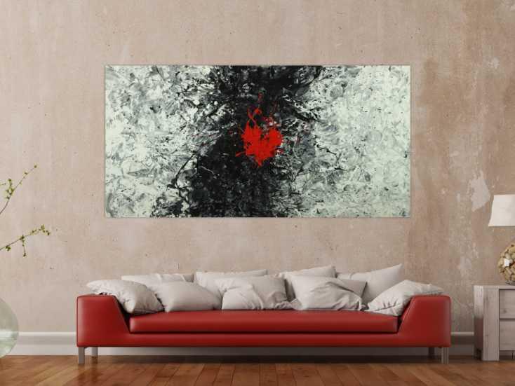 #1595 Abstraktes Acrylbild schwarz weiß grau tor Action Painting Modern ... 100x200cm von Alex Zerr