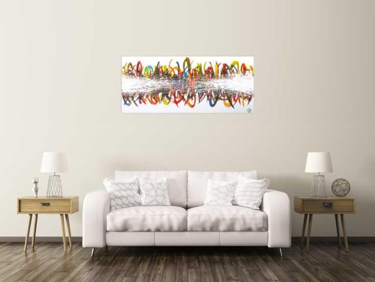 #1596 Abstraktes Acrylbild sehr bunt auf Leinwand handgemalt Modern Art 60x140cm von Alex Zerr
