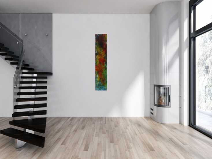 #1597 Modernes Acrylbild auf Leinwand handgemalt Modern Art Mischtechnik 150x30cm von Alex Zerr