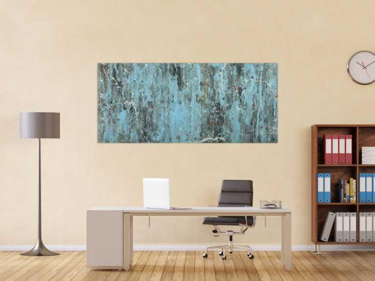 #1598 Abstraktes Acrylbild Modern Art blau grau weiß rot auf Leinwand ... 80x180cm von Alex Zerr