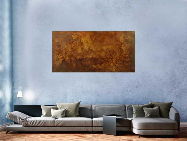 #1599 Abstraktes Gemälde aus echtem Rost Modern Art auf Leinwand Kust auf ... 80x160cm von Alex Zerr