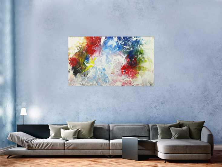 #1600 Modernes Acrylbild sehr Bunt Action Paintng Modern Art auf Leinwand ... 80x140cm von Alex Zerr