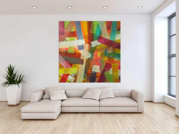 #1601 Abstraktes Acrylbild Mondern Art auf Leinwand sehr bunt handgemalt ... 150x150cm von Alex Zerr