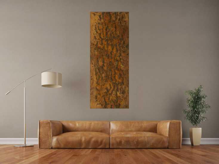 #1602 Abstraktes Gemälde aus echtem Rost mit grober Struktur auf Leinwand ... 150x60cm von Alex Zerr
