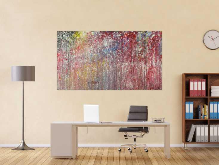 #1603 Modernes Acrylbild sehr bunt Action Painting auf Leinwand handgmalt ... 100x180cm von Alex Zerr