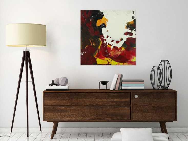 #1607 Abstraktes Gemälde handgemalt auf Leinwand Action Painting Modern Art 70x70cm von Alex Zerr