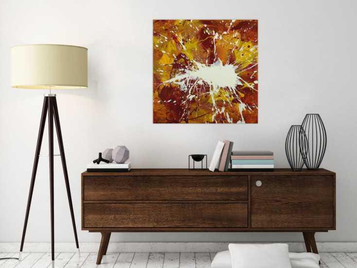 #1613 Abstraktes Gemälde handgemalt auf Leinwand Action Painting Modern Art 70x70cm von Alex Zerr