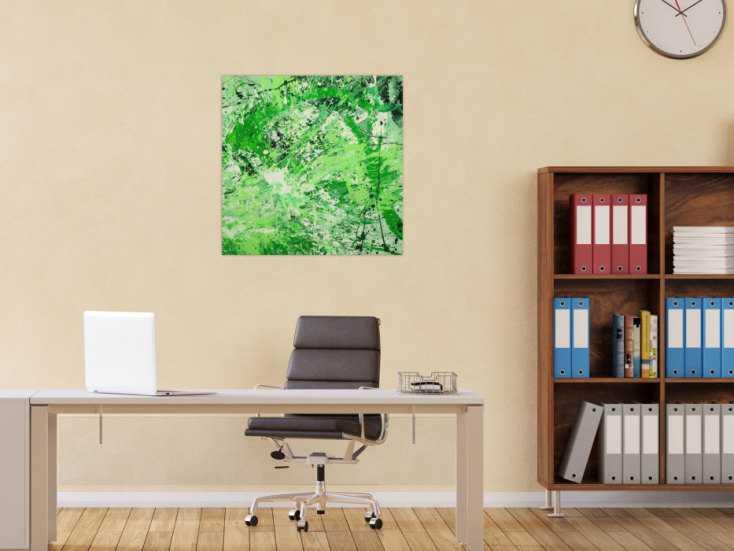 #1614 Abstraktes Gemälde handgemalt auf Leinwand Action Painting Modern Art 70x70cm von Alex Zerr