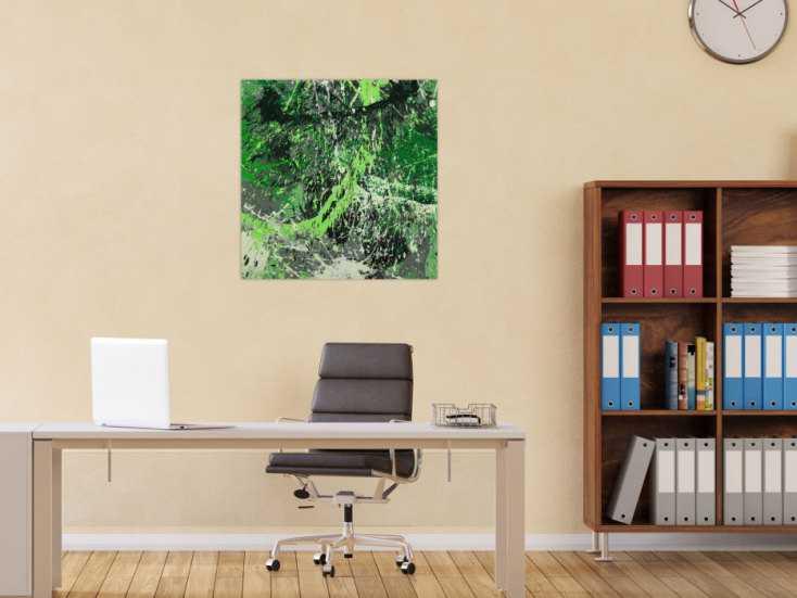 #1615 Abstraktes Gemälde handgemalt auf Leinwand Action Painting Modern Art 70x70cm von Alex Zerr